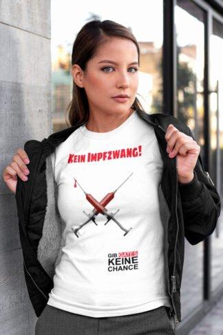 Kein Impfzwang - Frauen T-Shirt weiß